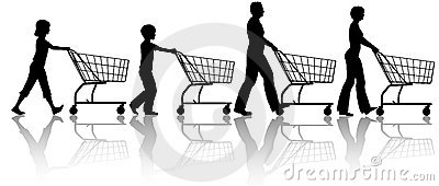 Family mom dad kids together push shopping carts