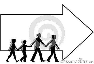 Family mom dad kids walk to follow arrow copyspace