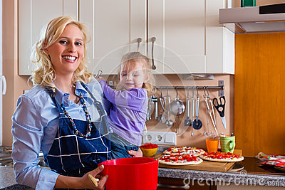 Family - mother and child baking pizza