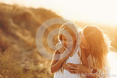 Family. Mother and daughter. Together Stock Photo