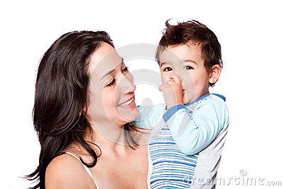 Family mother and son