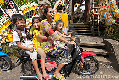 Family on motorcycle Editorial Image