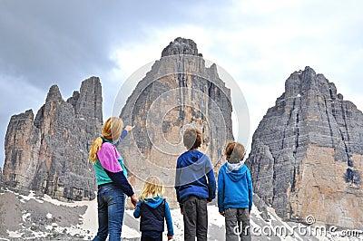 Family at mountain range