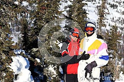 Family of mountain-skiers.