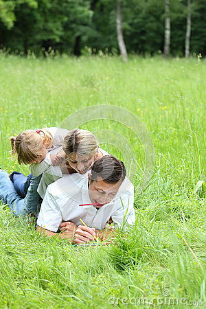 Family on the nature