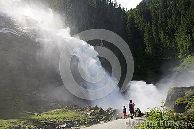 Family near Krimml Waterfalls in Austria Editorial Stock Photo