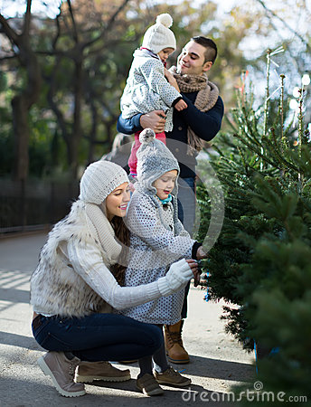 Free Family Of Four Choosing X-tree At Market Royalty Free Stock Images - 52179199