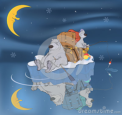 Free Family Of Polar Bears On An Ice Floe. Cartoon Royalty Free Stock Photo - 27640325
