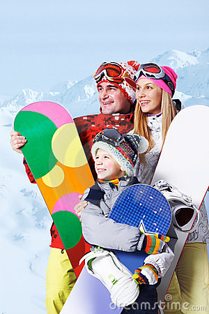 Free Family Of Snowboarders Stock Images - 17262794