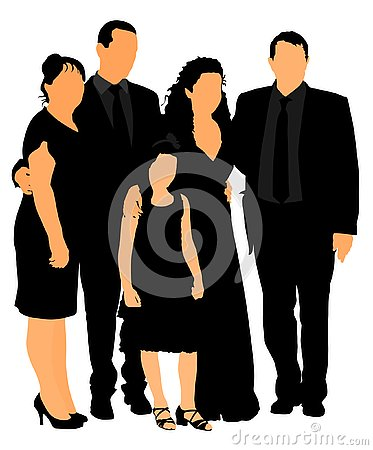 Free Family On Cemetery Or Graveyard Mourning Deceased Relative. Featuring People Weeping At A Funeral Stock Images - 146020034