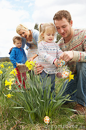 Free Family On Easter Egg Hunt In Daffodil Field Royalty Free Stock Photography - 15934907