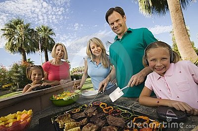 Family at outdoor barbecue