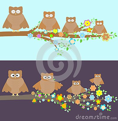 Family of owls sitting on a branch