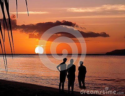 Family and paradise sunset.