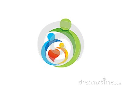 family,parent,kid,heart,logo,parenting,care,circle,health,education,symbol icon design vector Vector Illustration