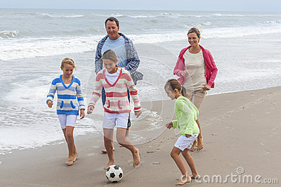 Family Parents Children Playing Beach Soccer Football