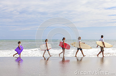 Family Parents Girl Children Surfboards on Beach