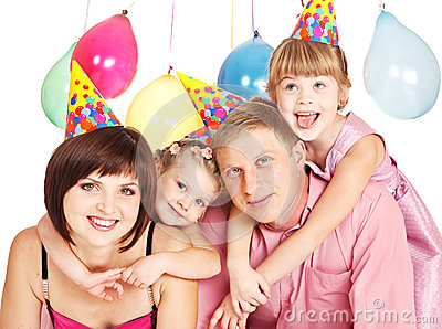 Family in party hats