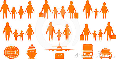Family people and travel objects