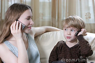 Family phone talking
