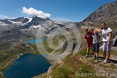 Family photo at nivolet pass in Orco Valley