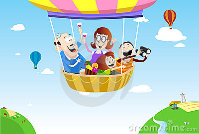 Family picnic on the air balloon