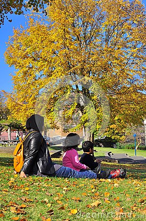 Family Picnicking while watching autumn foliage