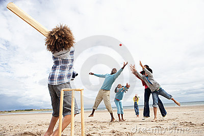 Family playing cricket on beach
