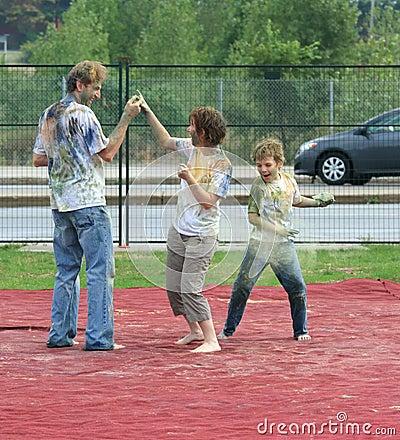 Family Playing Holi Editorial Photo