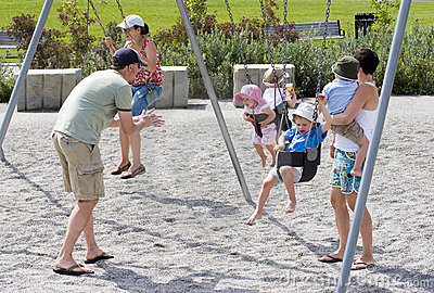 Family playing at park