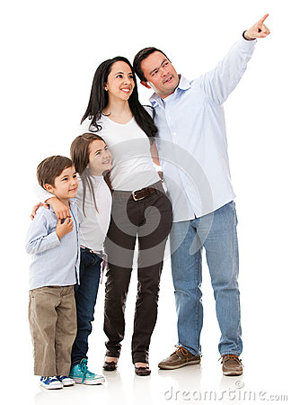 Family pointing somewhere