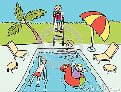 Family at Pool