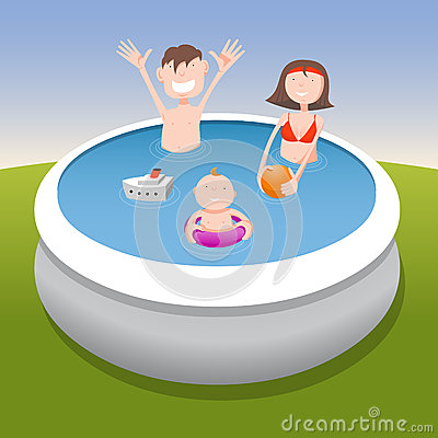 Family in pool