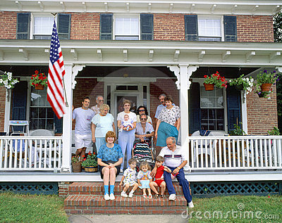 Family on porch Editorial Stock Photo