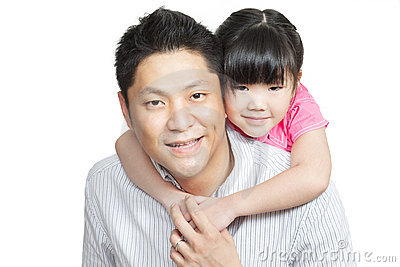 Family portrait of Asian Chinese father, daughter