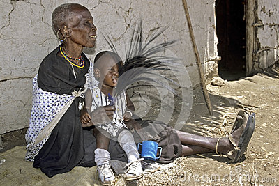 Family portrait Maasai grandmother and grandchild Editorial Stock Photo