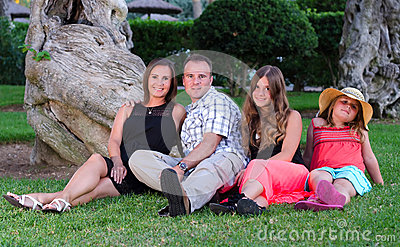 Family portrait in tropical garden