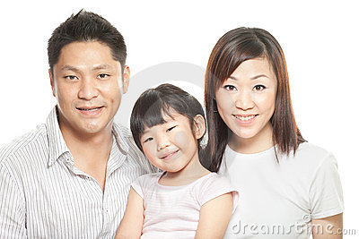 Family portrait of young chinese parents, daughter