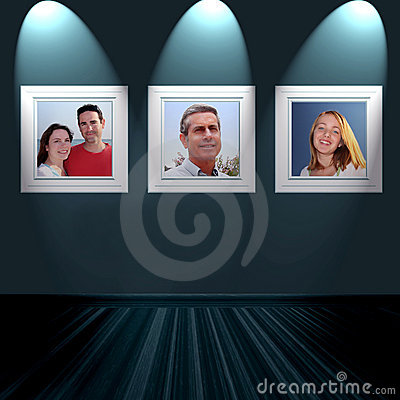 Family portraits on wall