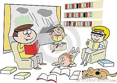 Family reading cartoon