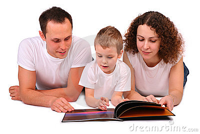 Family reads magazine