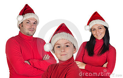 Family with red clothing in Christmas