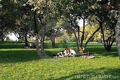 Family rest in park