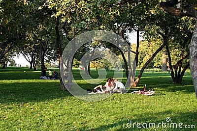 Family rest in park