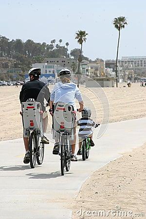 Family riding a bikes