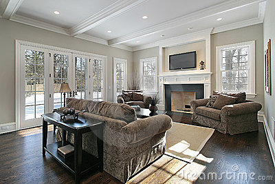 Family room with back yard view