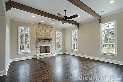 Family Room With Ceiling Wood Beams Royalty Free Stock