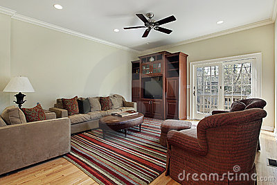 Family room with door to deck