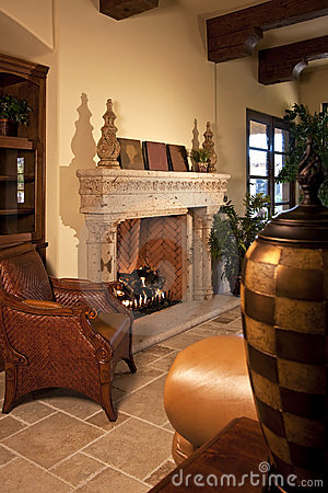 Family room home fireplace