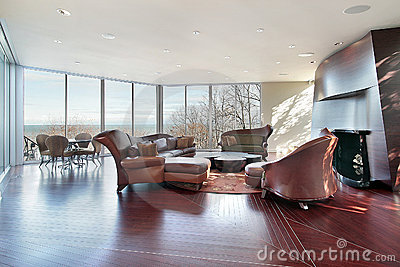 Family room with lake view
